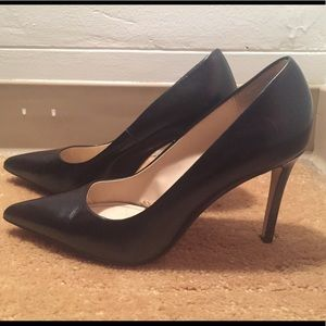 Black leather heels from Zara